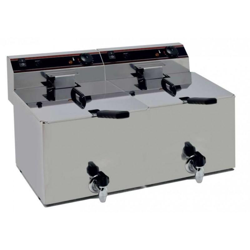 Freidora Eléctrica capacidad 12+12l pot.4,5+4,5 Kw con Grifo de Vaciado línea Badajoz EVO1212G