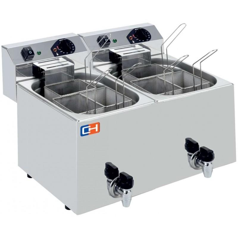 Cuecepasta Eléctrico Profesional 7+7 litros con 3+3 cestas 530X460X370h mm CP77L