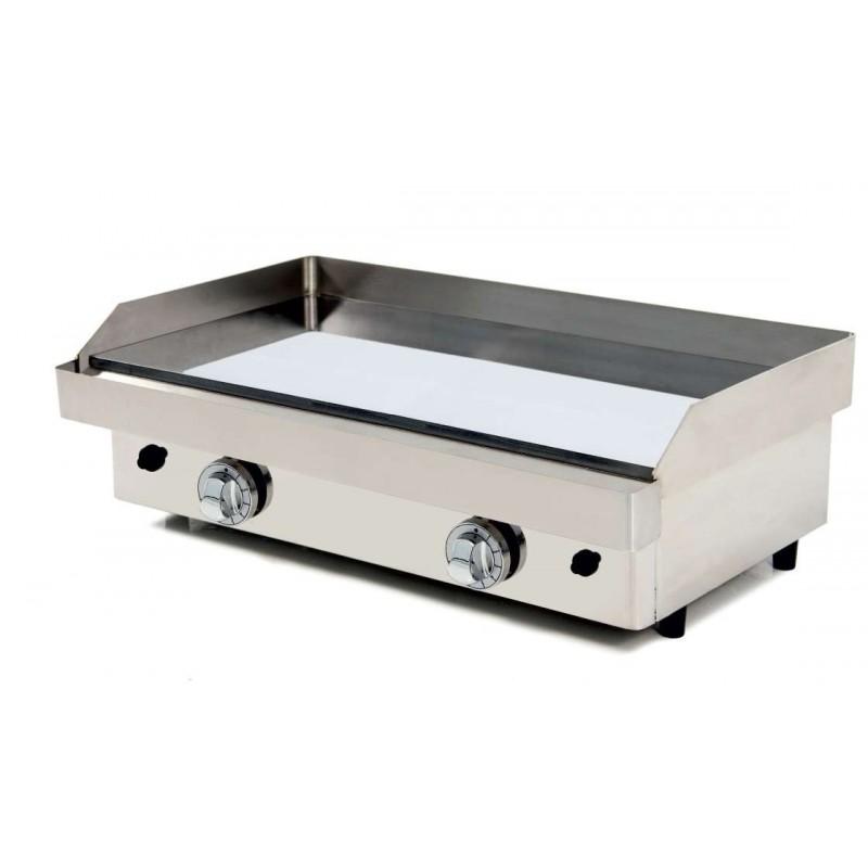 Plancha a Gas Acero con Baño Cromo Duro 50 micras pot.9,6 Kw dim.810x457x240h mm línea Badajoz 80PGC