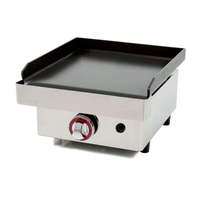 Plancha a Gas Acero Laminado 6 mm con recubrimiento cerámico antiadherente Pot.3,2 Kw superficie útil 400x400mm MANOTEC40