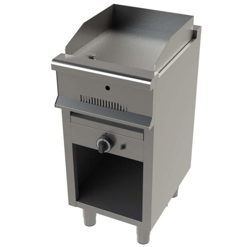 Fry tops a gas acero laminado con mueble Serie 550 JUNEX con medidas 400x550x850h mm FT6100/1