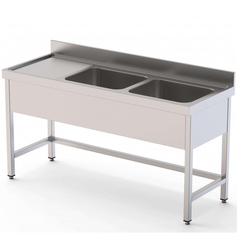 Fregadero 2 Cubas Fondo 600 Con Mueble Sin Estante 1200x600x850h mm IS1612C20S0