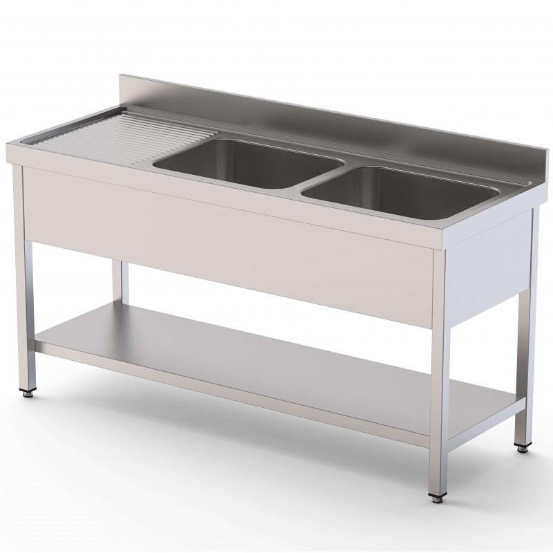 Fregadero 2 Cubas Fondo 600 Con Mueble Con Estante 1200x600x850h mm IS1612C20S1