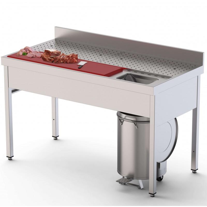 Mesa Preparación de Alimentos Acero Inoxidable Con Cubeta Fondo 700 Con Mueble 1400x700x850h mm IS1714FPVS0