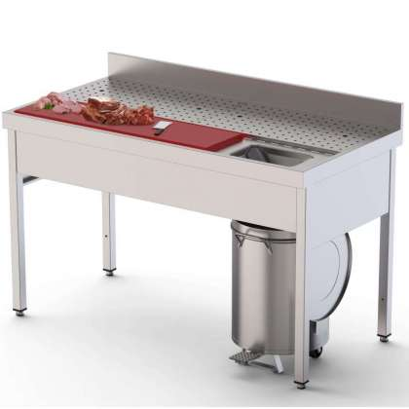 Mesa Preparación de Alimentos Acero Inoxidable Fondo 700 Con Mueble 1400x700x850h mm IS1714FPMS0