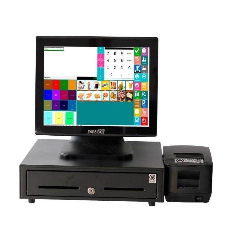 TPV Compacto Táctil capacitiva: TPV Compacto+Cajón Portamonedas+Impresora 80mm Completa Hostelería MC20080C-H