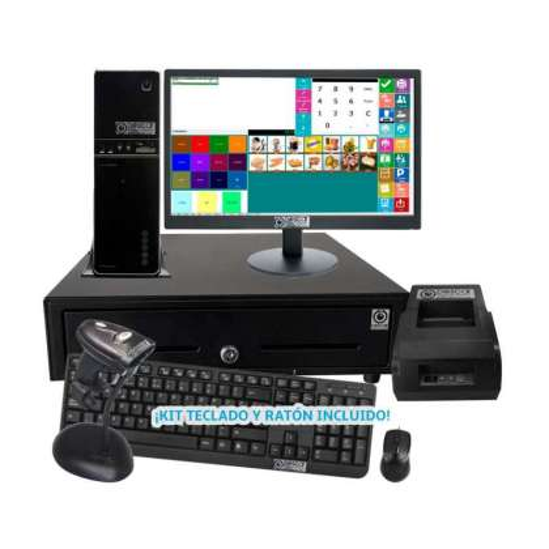 TPV Modular NO Táctil: TPV Modular+Cajón Portamonedas+Impresora 58mm +Teclado+Ratón Básica Comercio MC5058B-C