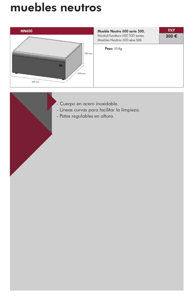 Mueble Neutro Acero Inoxidable 600x500x235h Mm Hr Serie 500 Mn600  # Muebles Ficha Tecnica